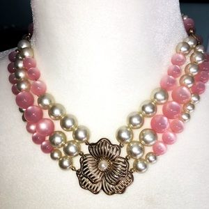 VINTAGE FAUX PINK PEARLS THREE STRANDS NECKLACE